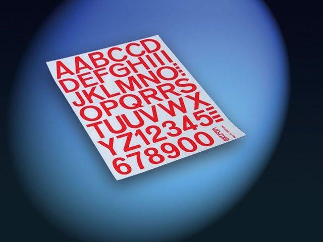 Aufkleber Zahlen / Buchstaben 50mm rot